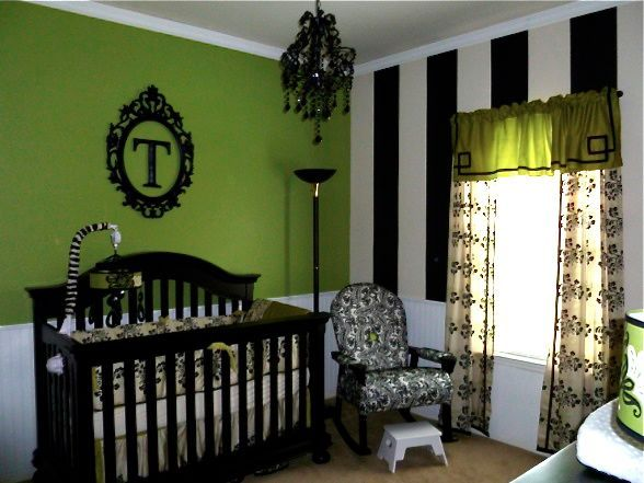 nursery ideas: LOVE this room! So fabulous. LOVE the green mixed with