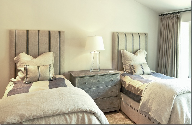 Another twin bed design - love the rustic linens and burlap headboards.
