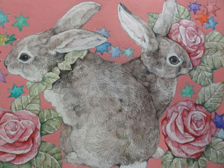higuchiyuko painting with rabbits and roses