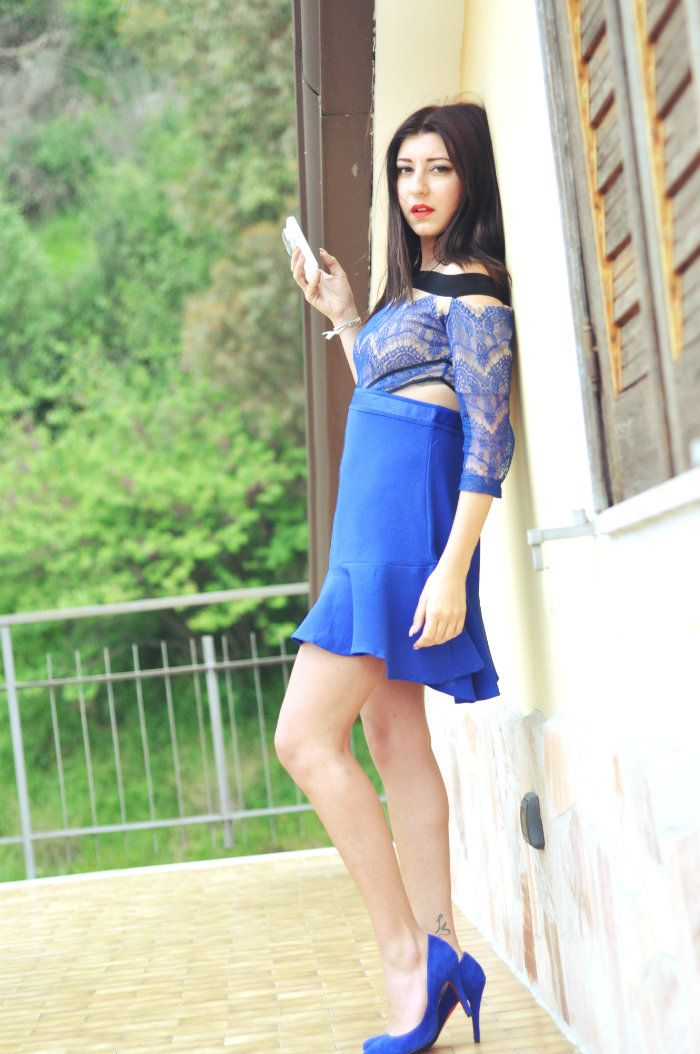 sabrina musco blue electric dress heels