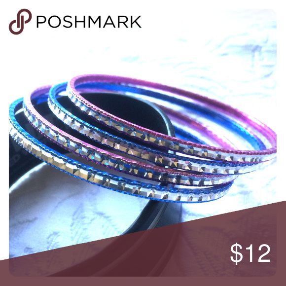 Indian stile bangle set 2 blue and 2 pink designed bracelets from India! Super cute! Jewelry Bracelets