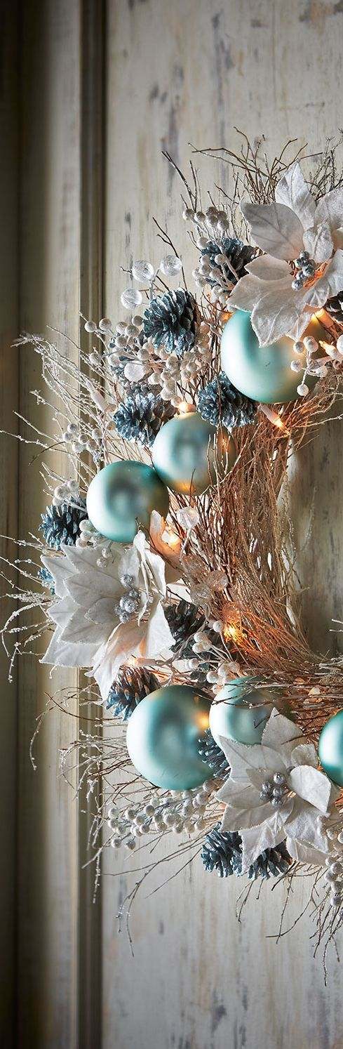 Ice Blue & Silver Wreath | Christmas Decor                                                                                                                                                                                 More