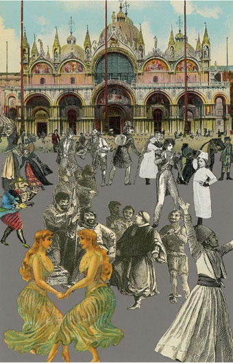 I really like the clever use of collage, the combinaion of monotones and subtly/aged aspects of colour. This collage creates a sort of narrative. I also appreciate the use of different chartacters that are collaged onto a scene of Venice that may not belong there usualy.