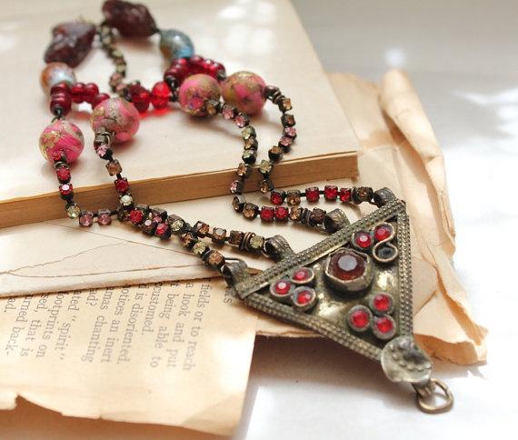 Victorian tribal bracelet vintage jewels raw garnet post apocalyptic