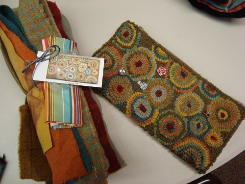 Not Punchneedleembroideryu2013ALL Wool Hookedu2013this Shows Finished Bag With The  Complete Kit For It