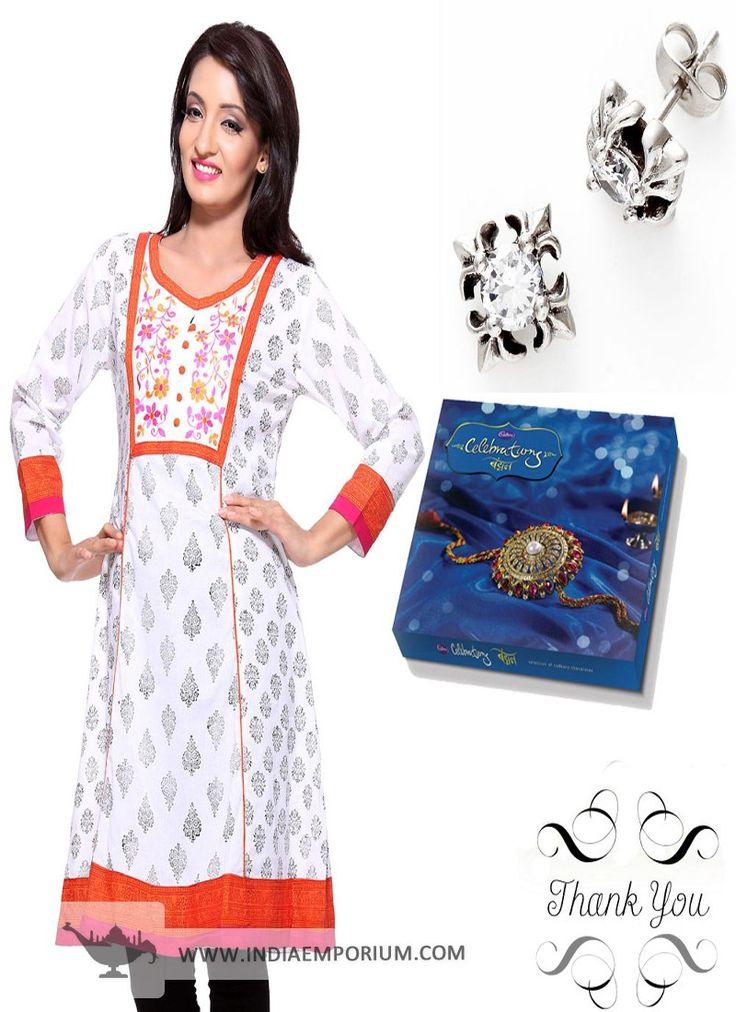 Beautiful White Kurta & Oxidized Metal Earrings Hamper For #Sister  #Rakhi  #RakshaBandhan