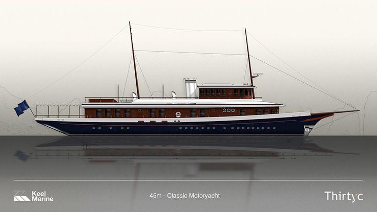 45m Classic Motoryacht  #superyacht #yachtdesign #design #classic #motoryacht