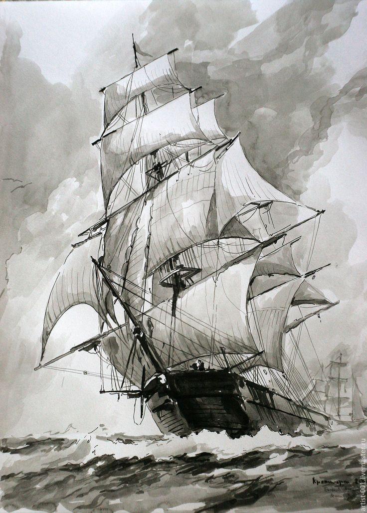 парусник (клипер), рисунок тушью на основе картины Montague Dawson - чёрно-белый, парусник #art #sea #ship #корабль