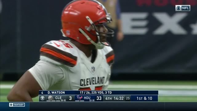 Houston Texans quarterback Deshaun Watson evades Myles Garrett's clutches, gets pass off just in time
