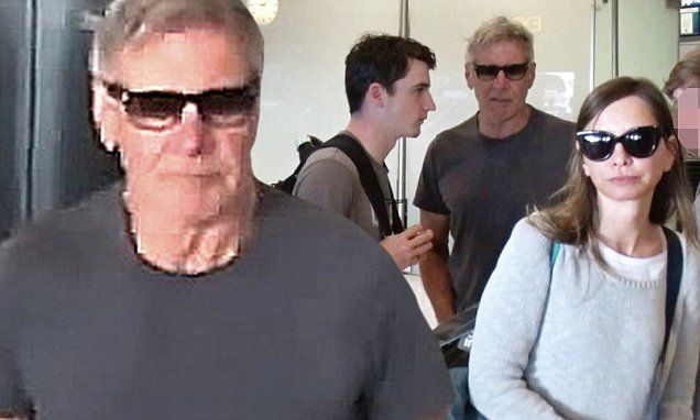 Harrison Ford arrives to LAX with wife Calista Flockhart and son Liam