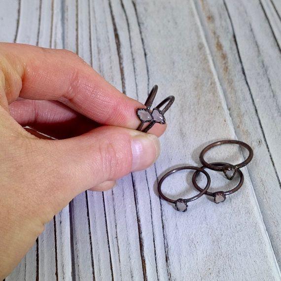 Rose quartz ring electroformed ring Rozenkwarts crystal