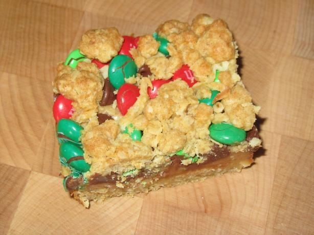 M & M Dream Bars from Food.com:   These are yummy! The original recipe called for red and green Christmas M, but I see no reason to relegate this delicious treat to just the holidays. :)