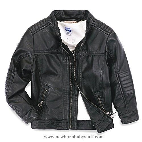 Baby Boy Clothes LJYH Boys leather jacket new spring children's collar motorcycle leather zipper coat black 4-5