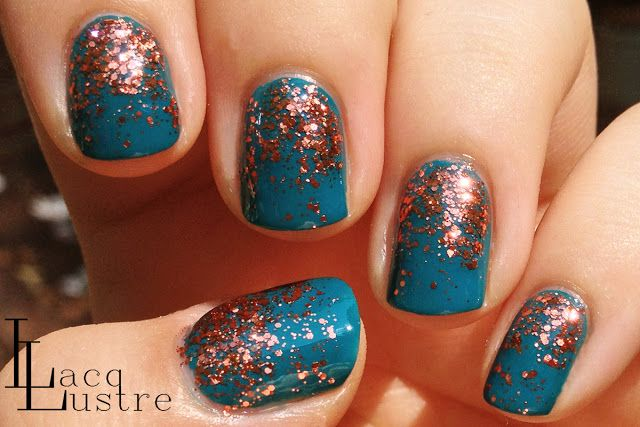 Orly Teal Unreal with Sally Hansen Copper Penny Glitter Gradient