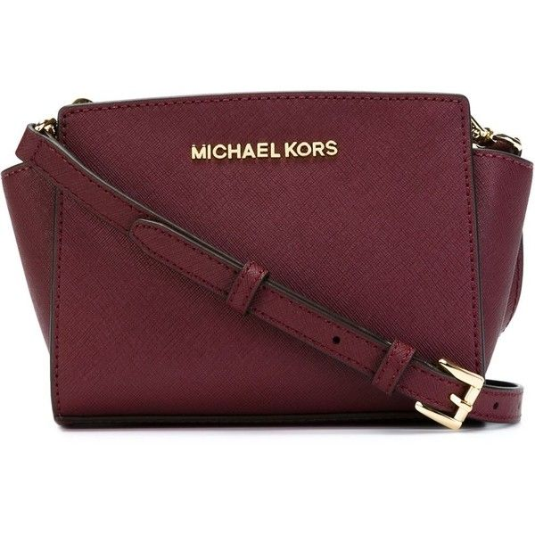 Michael Michael Kors Selma Cross Body Bag ($170) ❤ liked on Polyvore featuring bags, handbags, shoulder bags, red, crossbody purse, leather handbags, leather purse, red crossbody and red leather handbag