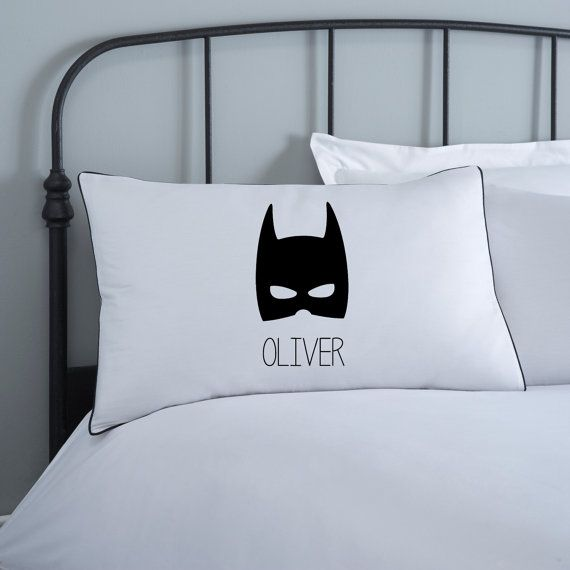Batman Pillowcase  Kids Pillows  Monochrome Bedding by KokoBlossom