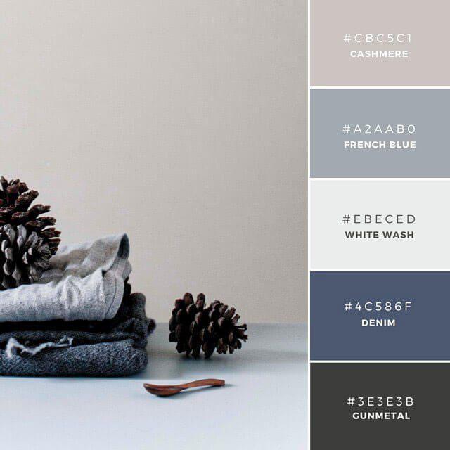 ◆French Connection 青色をベースにしたグラデーションが美しい配色カラーパレット。CashmereとGunmetalを温かみのある印象を与え、涼しい青との素敵なコントラストを表現しています。またユニセックスな(英: Gender-Neutral)配色で、結婚式の引き出ものや招待状などに。