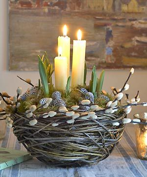 Spring centerpiece - Swap out the tapers with a Luminara flame effect pillar. Nests are available at some garden and craft stores.