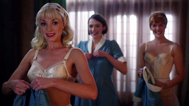Call The Midwife: Nurse Trixie Franklin (played by Helen George),  Nurse Barbara Gilbert (played by Charlotte Ritchie) and Nurse Patsy Mount (played by Emerald Fennell)