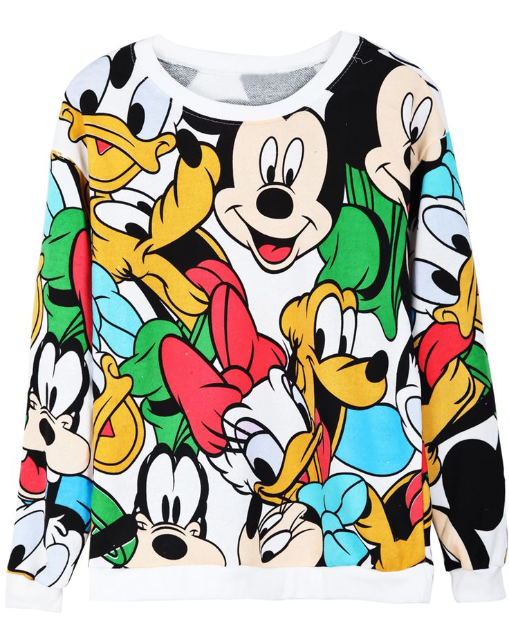 White Long Sleeve Cartoon Mickey Print Sweatshirt US$31.97