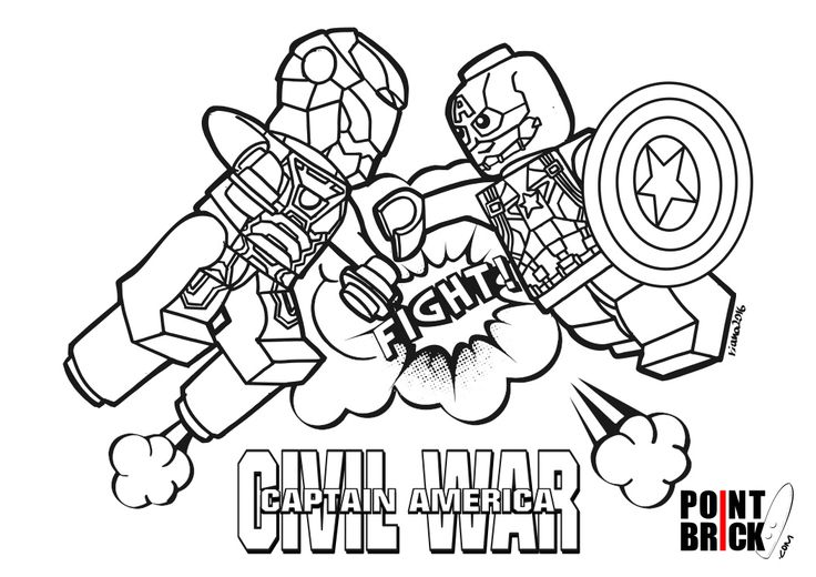 Disegni da Colorare Lego Marvel Civil War & Elves