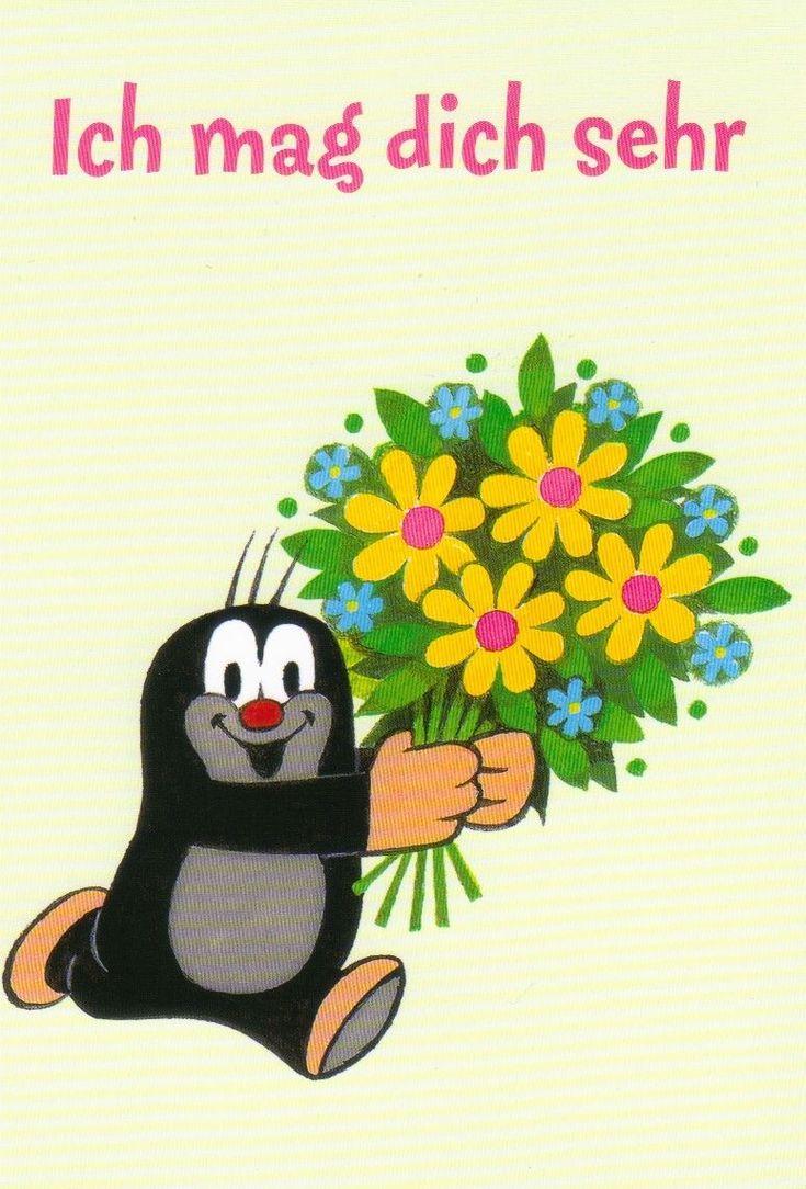 Ansichtskarte: Der kleine Maulwurf sagt es mit Blumen - The little mole • EUR 1,00 - PicClick DE