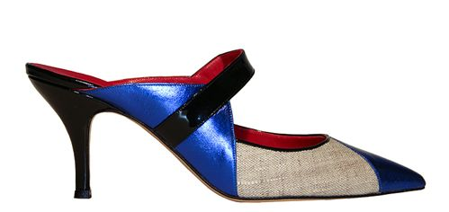 Laminated leather, patent leather and linen mule www.stathissamantas.com