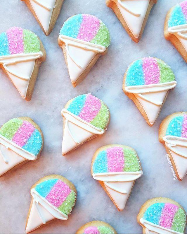 Definitely a snow cone day ☀️  @merci.bakery [CookieCutterKingdom Ice Cream Cone Single Cutter] #cookiecutterkingdom