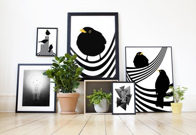 Hanging out and other posters by Lina Johansson #nordicdesigncollective #hangingout #blackbird #blackbirds #bird #birds #koltrast #black #yellow #frame #poster #print #posterwall #electricity #plant #pottedplant #kingblackbird #wodd #woodenfloor #striped #stripes