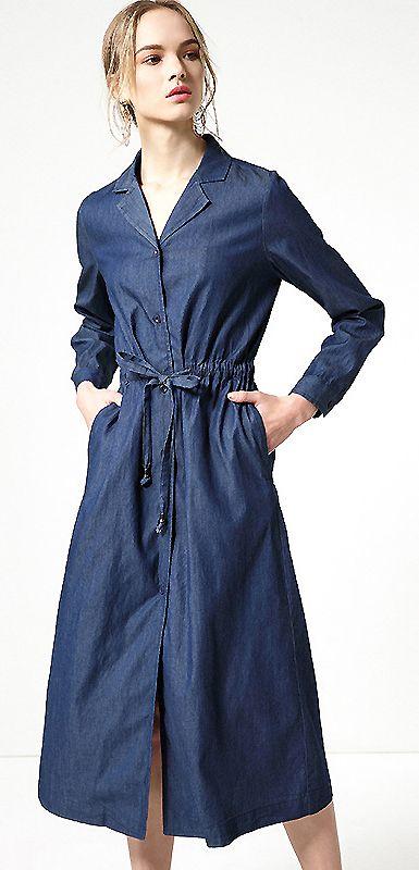 Fashion V-Neck Single Breasted Belted Denim Dress