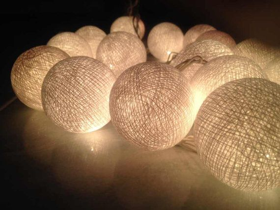 Lumières boule de coton pour la décoration, décoration de fête, patio de mariage, 20 pièces intérieur string ton de guirlande lumineuse blan...