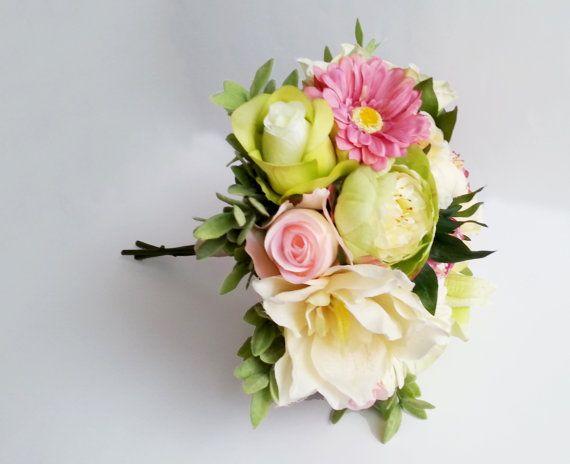 Silk and satin flowers peonies wedding BOUQUET pink Flowers, satin Handle, Flower-girl, Bridesmaids, green pink yellow custom