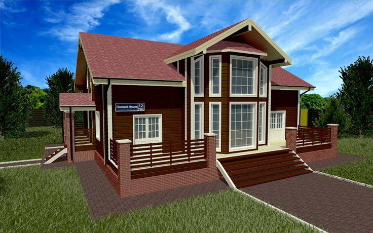 """Деревянный дом из клеёного бруса площадью 290,49 м2: цена строительства, фото, планы этажей, планировка. Построить дом по этом проекту """"под ключ""""!"""
