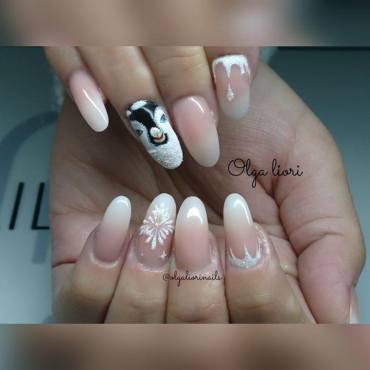 Babyboomer gel nails christmas design