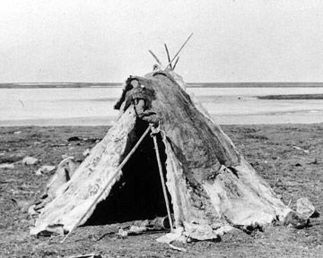 Summer Inuit Tent - The Inuit were nomadic people, so they rarely stayed in one place for very long. Therefore, their houses had to be quick and easy to build. During the summer, the Inuit built tents out of driftwood or poles covered with animal skins, mostly caribou or sealskin. These tents were not unlike the Plains tipis.