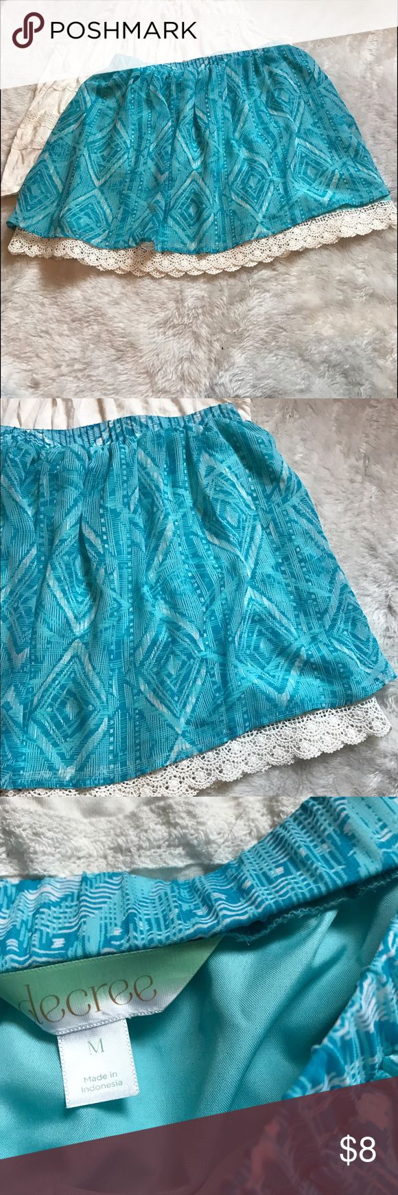 Aztec Elastic Waist Crochet Lace Trimmed Skirt M Like new elastic waisted ladies Aztec blue turquoise Crochet Lace trimmed skirt. Springy. Light and airy. Little lighter than pictures show. 🚫No trades ✅Reasonable offers submitted though offer button accepted. 🚭Smoke free home💌Laundered before shipped degree Skirts