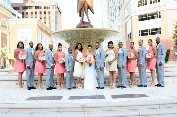 Grey and coral wedding party
