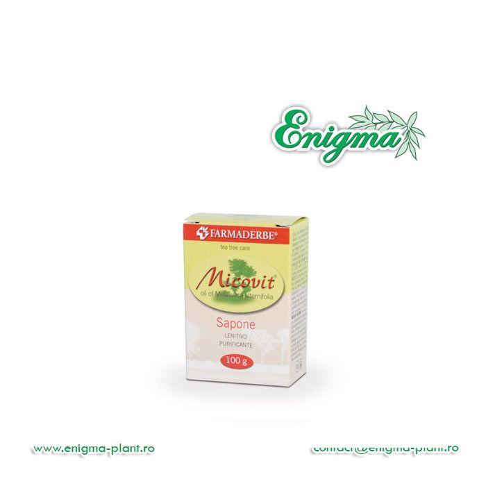 Micovit Sapuncurăţă pielea în profunzime şi, datorită proprietăţilor preţioase ale Copacului de Ceai (Tea Tree), purifică şi favorizează echilibrul epidermic fiziologic.Substanţe funcţionale: ulei esenţial de Melaleuca alternifolia 4 %.Sfaturi pentru utilizare: A se f