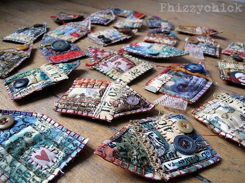 Fabric House Brooches by Phizzychick. The start of an addiction I think! www.facebook.com/Phizzychick