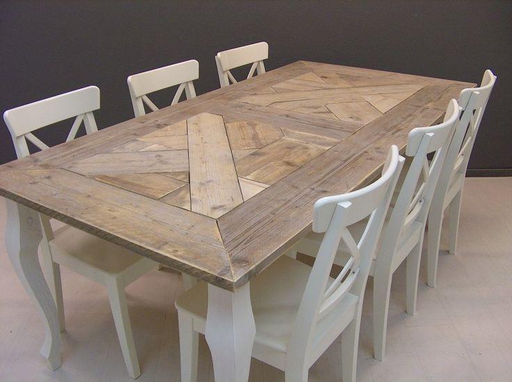 Tafel QUEEN ANNE mozaiek blad steigerhout met wit onderstel (23112013) | Tafels van steigerhout | JORG`S Houten Meubelen