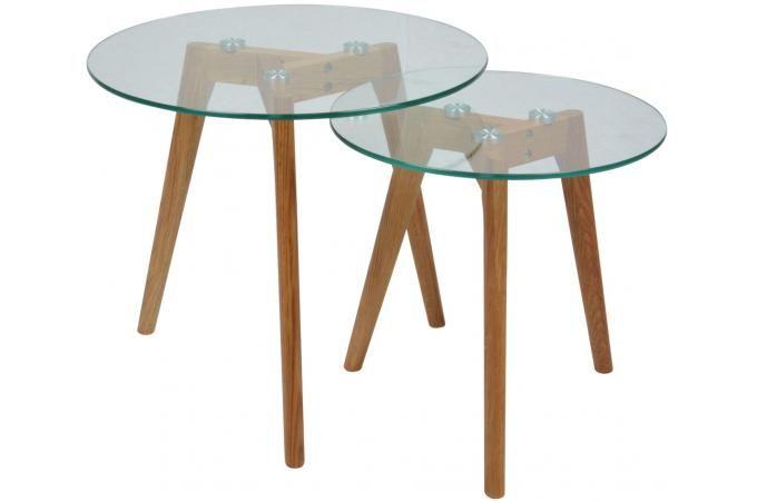 Lot de 2 Tables gigognes plateau verre transparent PM FIORD