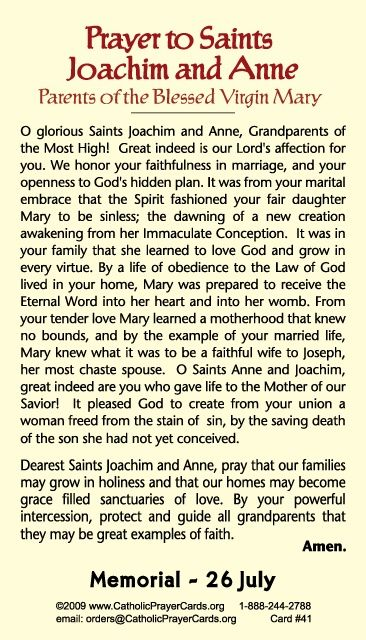 St. Anne and St. Joachim - Feast day July 26