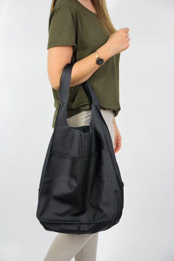 Black Oversize Handbag Leather Women