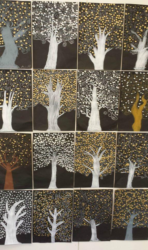 arbres graphisme spirale et points