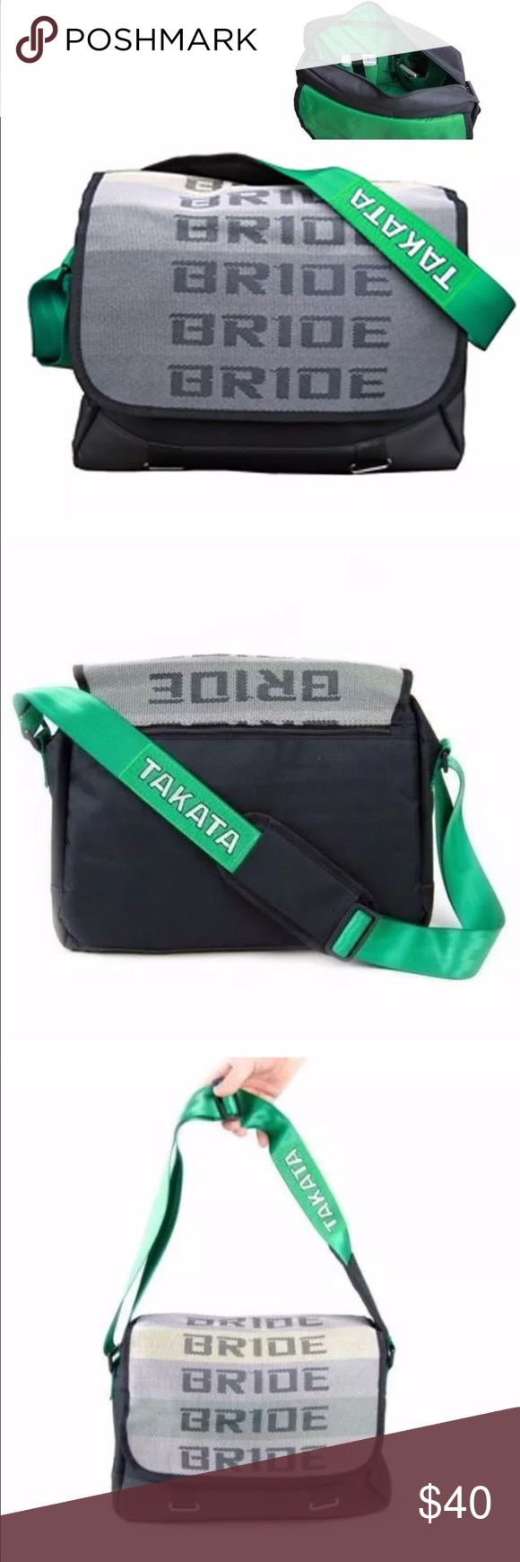 """JDM Racing Laptop Carry Bag JDM BRIDE Racing Carrying Laptop Messenger Bag - GREEN Adjustable Strap     Features: Racing Harness Single Shoulder Strap Internal Zipper Pockets Internal Pen and Pencil Holder Holds 11-14"""" laptop! (will not fit 15.6""""+ laptop) Heavy Duty Zippers 100% Top Notch Quality! Back Zipper Pocket Green Color Strap with White Takata Logo  Packing Include:  x1 Takata Shoulder Bag Bags Laptop Bags"""