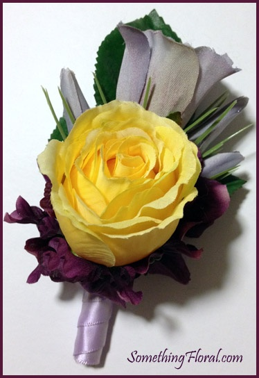 Yellow rose, lavender lisianthus, and violet hydrangea boutonniere by Something Spectacular/Something Floral, Warren, MI.