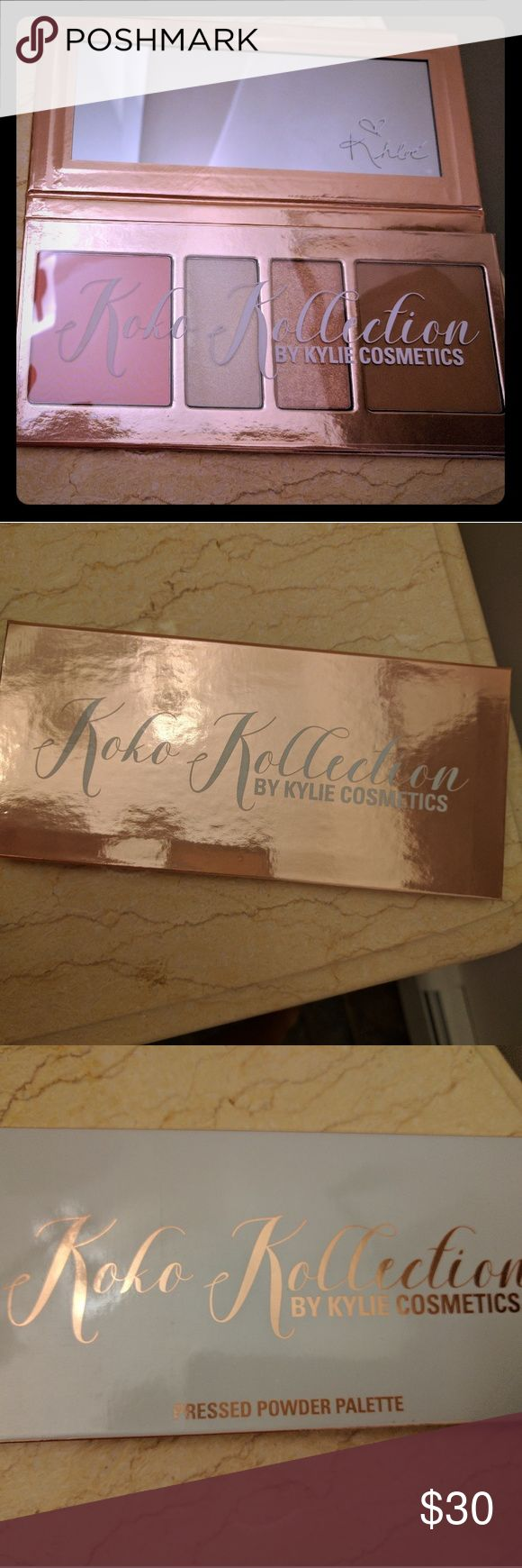 """Koko Kollection Palette by Kylie Cosmetics New in Box. Authentic. Unopened, unswatched. Includes """"rodeo drive"""" blush, """"troop beverly hills"""" and """"90210"""" highlighters and """"hollywood blvd"""" bronzer. Add this beautiful pressed powder palette to your collection! No trades. Kylie Cosmetics Makeup"""