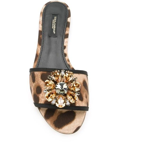 Dolce & Gabbana embellished flat sandals ($440) ❤ liked on Polyvore featuring shoes, sandals, leopard flat sandals, brown sandals, brown flat shoes, leopard print flat sandals and brown shoes