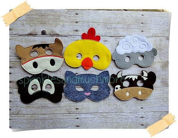 Farm Animals Masks, Dog Mask, Cat Mask, Cow Mask, Horse Mask, Sheep Mask, Chicken Mask,  Pretend Play, Creative Play, Set of 6 - pinned by pin4etsy.com