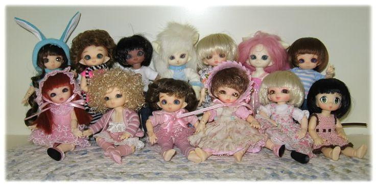 Cute PukiPuki Family. Back Row:  Rose, Cupid Kitty,  Choco Cupid Cadbury, Pukisha Frosty, Madeline, Hawaa Hafa Willow, Piki Mouse Front Row: Ante Abby, Pipi Minimo, Piki Mia, Darjeeling, Rose and Ani